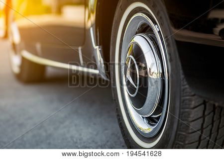 Novosibirsk Russia - June 16 2017: Mercedes-Benz 190 sl close-up of the wheel. Photography of a classic car on a street in Novosibirsk