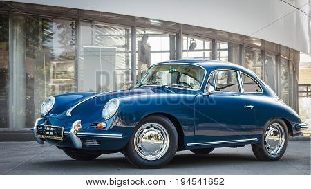 Novosibirsk Russia - June 16 2017: Porsche 356 side view. Photography of a classic car on a street in Novosibirsk