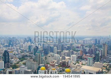BANGKOK THAILAND - april 12 : Top view of Bai-Yok2 building can see cityscape of bangkok on april 12 2014 Bai-Yok2 Building is highest building of thailand Thailand