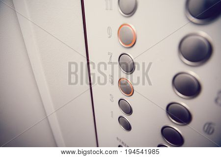 apartment elevator lift building press buttons pressed on the call rise up.