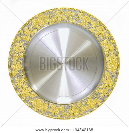 empty circle of golden metal shield award certificate plate for congratulate