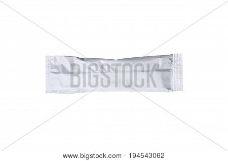 A packet of chocolate ice cream on a stick isolated over a white background with clipping path included.