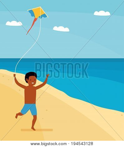 Family leisure. Summer time. Happy boy running on the beach with a kite in hand. African family beach holiday. African American people. Vector illustration in a flat cartoon style