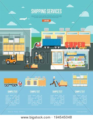 Shipping services and retail distribution poster. Freight trucking service, warehousing, storage logistics and management. Goods delivery infographics, business vector illustration in flat style.