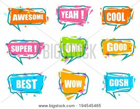 Trendy speech bubble colorful set. Most commonly used acronyms and replica collection. Awesome, yeah, cool, super, omg, good, best, wow, gosh label isolated on white background vector illustration.