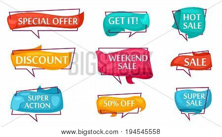 Sale speech bubble set for shop. Most commonly used acronyms and replica collection. Discount, super sale, weekend sale, special offer, get it, super action, hot sale label vector illustration.