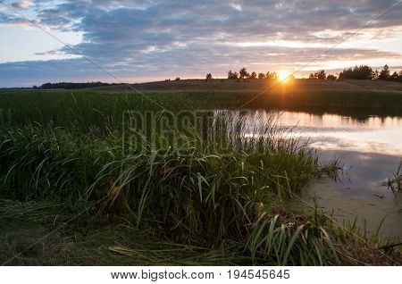 Sunset over the lake, dramatic sky, overgrown rivulet