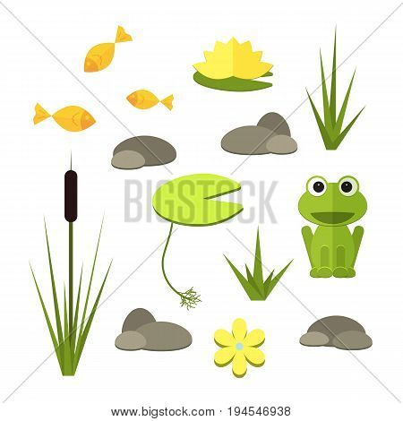 Cartoon vector garden pond elements with water, plants and animals. Isolated summer pond life clipart in flat style.