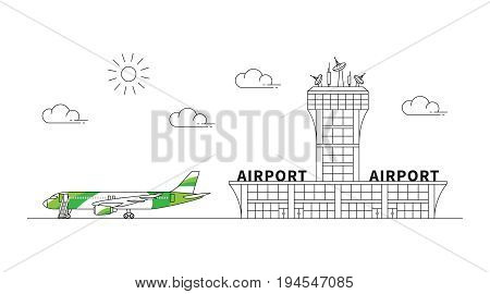 Airport terminal plane transportation linear vector illustration. Airport with colorful airplane creative graphic concept. Aviation: airline airstrip line art graphic design.