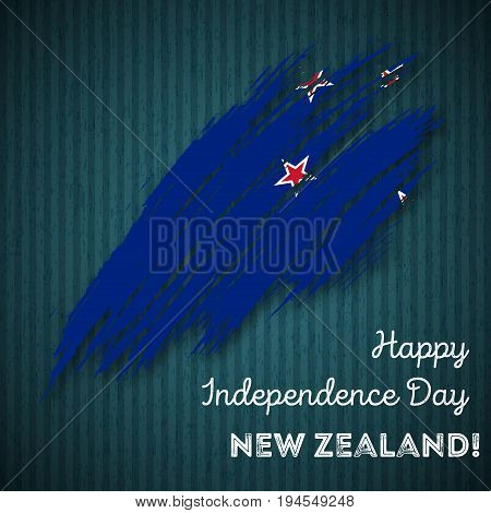New Zealand Independence Day Patriotic Design. Expressive Brush Stroke In National Flag Colors On Da