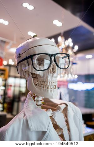 Skull Head Wearing Eyeglasses And White Scientific Lab Coat