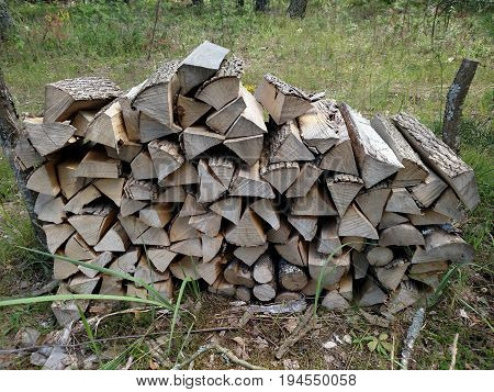 Preparation of firewood for the winter. Background. Firewood in the forest. Firewood on camping area fireplace. Stacks of firewood.