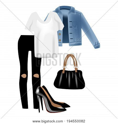 Fashion vector photo realism illustration with modern stylish look include blue denim jeans jacket. Isolated on white background