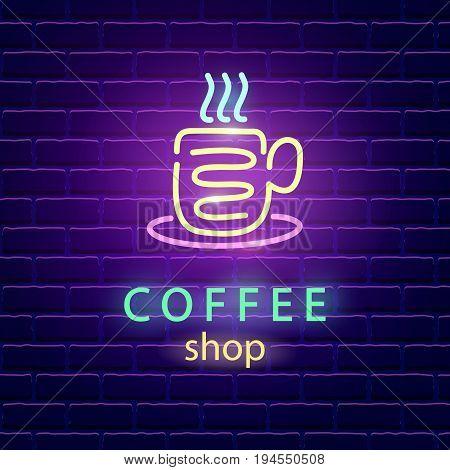 Coffee shop neon logo. Bright emblem sign on dark brick wall background. Light banner signboard. Electric label design template. Vector design element