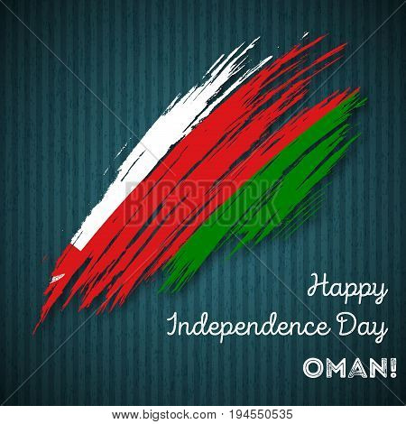 Oman Independence Day Patriotic Design. Expressive Brush Stroke In National Flag Colors On Dark Stri