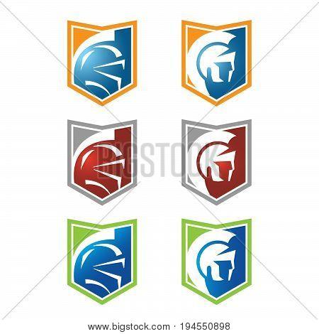 spartan head logo with variety color logo simple