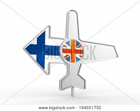 Emblem design for airlines, airplane tickets, travel agencies. Airplane icon and destination arrow. Flags of the Great Britain and Finland. 3D rendering