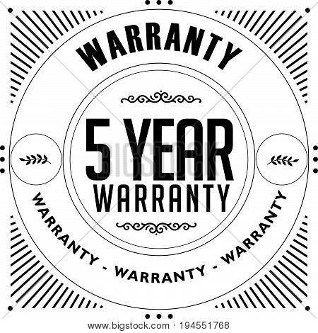 5 year warranty vintage grunge rubber stamp guarantee background