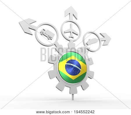 Delivery emblem design. Truck, airplane and ferry boat icons on destination arrows. Flag of the Brazil in the center of gear. 3D rendering