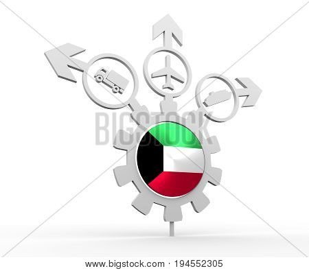 Delivery emblem design. Truck, airplane and ferry boat icons on destination arrows. Flag of the Kuwait in the center of gear. 3D rendering