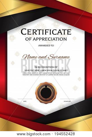 Portrait luxury certificate template with elegant golden red border frame Diploma design for graduation or completion