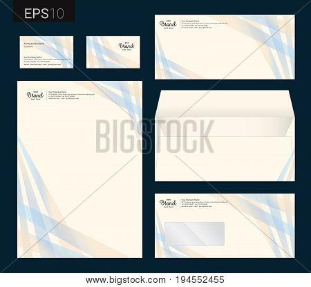 Modern stationery set in vector format letterhead business card envelope