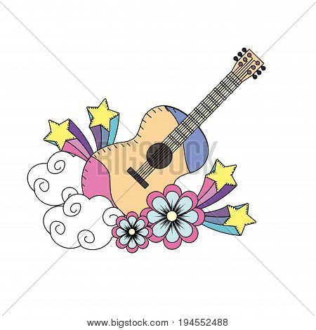guitar instrument of music with flowers and stars vector illustration