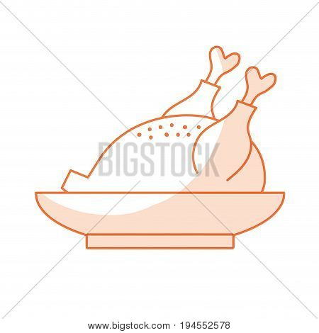 silhouette delicious chicken food with natural nutrients vector illustration