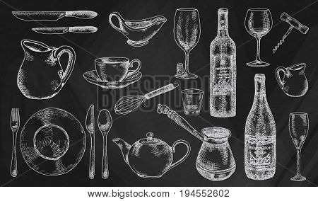 Kitchenware set. Beautiful tableware and kitchen utensils illustration on the chalkboard background