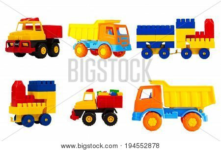 bright multi-colored toys for children isolated on a white background a set. toys transport - machine truck train locomotive pickup