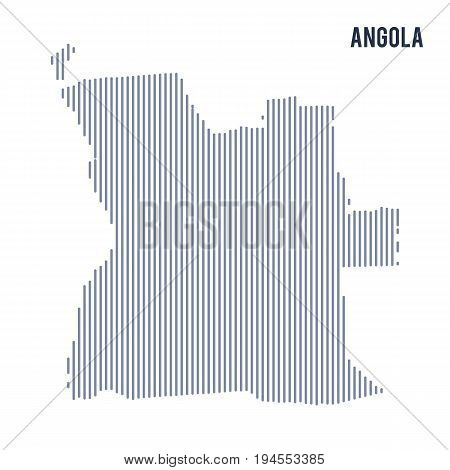 Vector Abstract Hatched Map Of Angola With Vertical Lines Isolated On A White Background.