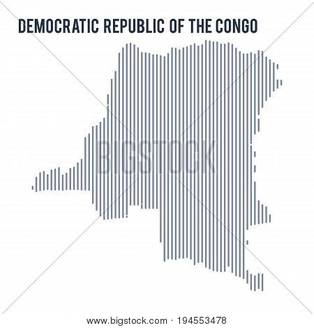 Vector Abstract Hatched Map Of Democratic Republic Of The Congo With Vertical Lines Isolated On A Wh