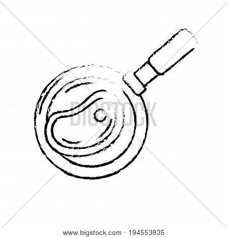 figure delicious meat inside skillet pan vector illustration