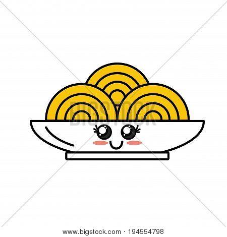 kawaii cute happy plate with spaguetti inside vector illustration