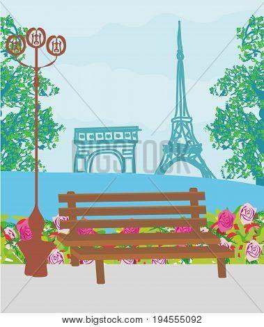 Retro Parisian with Eifla Tower card , vector illustration