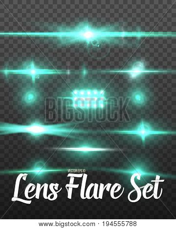 Illustration of Realistic Lens Flare Set. Vector Sun Flare Glare Transparent Effect