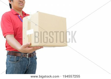 Courier service concept Delivery man in red uniform handing parcel box to recipient