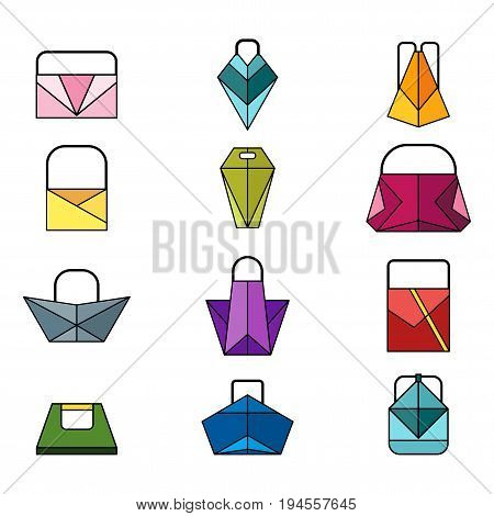 Set of different women fashionable colored origami handbag and bags. Flat vector cartoon illustration. Objects isolated on a white background.