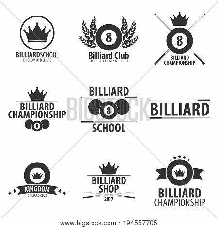 Set Of Logos For Billiard School, Club Or Shop. Vector Illustration.