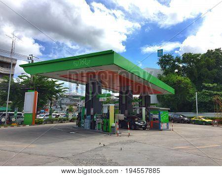 BANGKOK THAILAND - 7 JUNE 2017: Car in the BANGCHAK Gas station in Bangkok Thailand