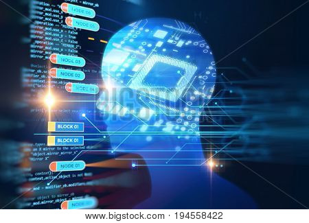 double exposure image of low polygon human head 3d illustration on blue circuit board background represent artificial intelligence AI technology