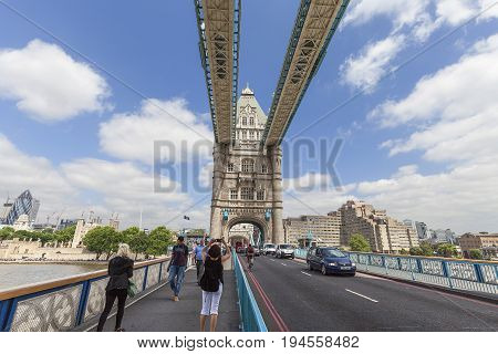 LONDON UNITED KINGDOM - JUNE 22 2017: Tower Bridge on the River Thames. The bridge is a symbol of the city and a great attraction for tourists