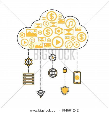 Cloud computing linear style infographics. Network cloud service, global data safety and interactive processing, financial system protection, online data backup conceptual vector illustration