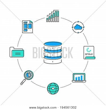 Business data storage linear style infographics. Network cloud service, world data safety, financial system protection, online data backup, interactive media processing conceptual vector illustration
