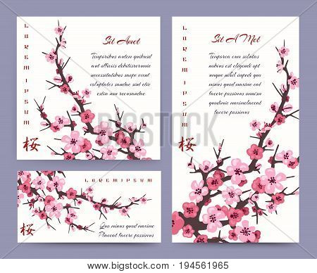 Sakura blossoms cards templates. Vector japanese blossoming pink cherry flowers invitation set for marriage or wedding banners