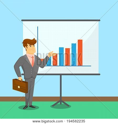 Businessman standing near board with financial diagram. Young man in business suit and tie doing business presentation. Business people banner, finance statistics and analytics vector illustration
