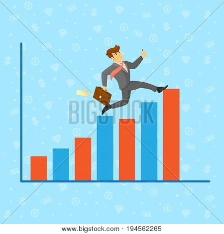 Businessman running along growth graph. Young man in business suit and tie moving to career success and business growth. Business people banner, finance statistics and analytics vector illustration