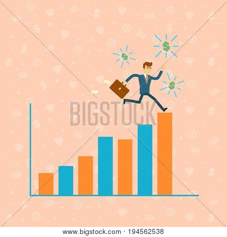 Businessman run on financial diagram. Young man in business suit and tie moving to career success and business growth. Business people banner, finance statistics and analytics vector illustration