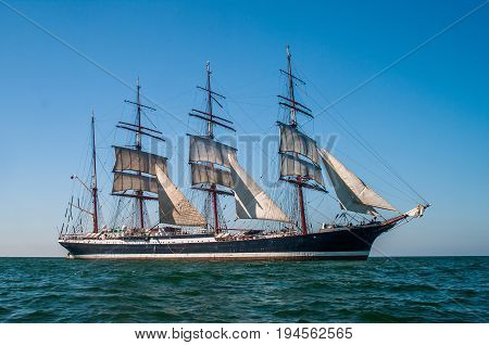 Clear sky, sunny afternoon , Four-masted barque right side view