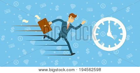 Time management concept with running businessman. Young man in business suit and tie. Hurrying to work man, planning and organization, working time, business strategy vector illustration